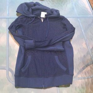 Navy lace zip hoodie cardigan by Eloise